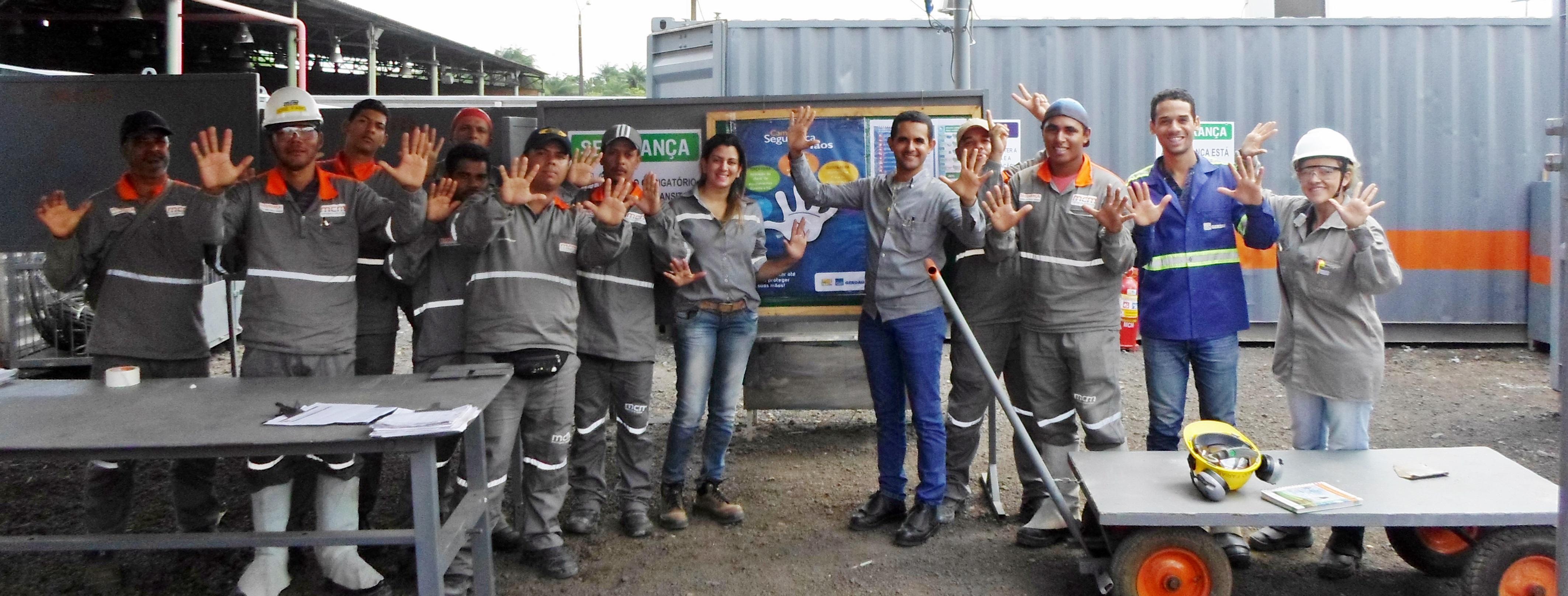 Campanha das mãos na obra Gerdau